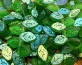 Spring Green Matte AB Czech Pressed Glass Top Drilled Leaf Beads with Red Picasso 12x7mm Approx. 25 beads