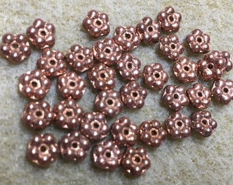 Daisy Flower Spacers Copper Teeny Tiny Czech Glass Buttercup Daisy Disk Spacer Beads 5mm 35 beads