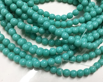 50 Green Turquoise Opaque Czech Pressed Glass Round Druk Beads 4mm