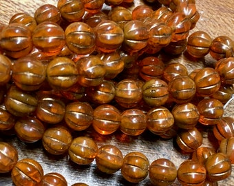 8mm Melon Beads Burnt Orange with Metallic Brown Finish Czech Pressed Glass Round Corrugated Melon Beads 8mm 20 beads