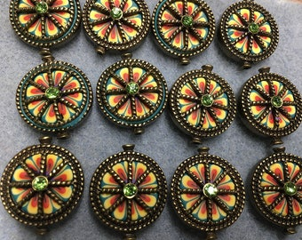 Yellow Red Green Polymer Clay with Rhinestone Centers Antique Brass Detail Double Sided Flat Round 19mm 2 beads