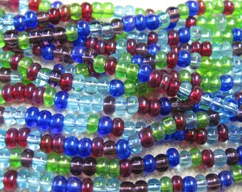 6/0 Gemtones Mix Genuine Czech Glass Preciosa Rocaille Seed Beads 6 Strand Half hank 66 grams