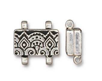 TierraCast Antiqued Silver Temple Stitch-in Strong Magnetic Clasp for Seed Beads and Shaped Beadwork 16x13mm One clasp F198B