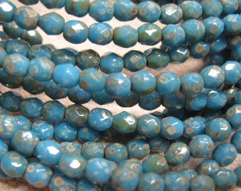 Maya Blue Picasso Czech Glass Fire polished Crystal Beads 4mm