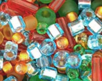 Orange Green Blue Mix Toho Glass Seed Beads 2.5 inch tube 8 grams TX-01-3228