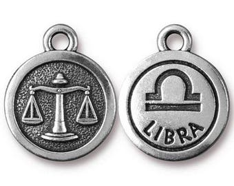 Libra Zodiac Antique Silver Charm TierraCast Zodiac Sign Astrology Charm Lead Free Pewter 18.75x15.75mm One Charm