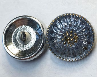 Daisy Flower Light Sapphire Blue Czech Glass Button with Gold Finish and Metal Shank 18mm