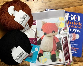 Complete Knitted Fox Toy Kit Cascade 220 Superwash Yarn Worsted Weight Wool with Tote plus Instructions