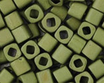 Matte Dark Olive 3mm Toho Cube Beads 2.5 inch Tube 8 grams TC-03-617
