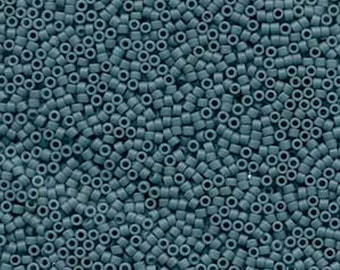 11/0 Miyuki Delica Opaque Matte Blue Grey Glass Seed Beads 7.2 grams DB792