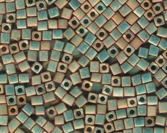 Opaque Khaki 3mm Miyuki Cube Beads 11 grams