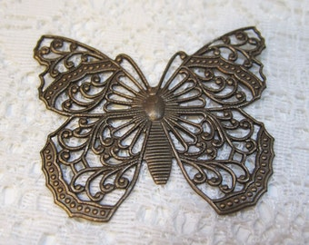 Large Exquisite Filigree Butterfly Pendant Flat Back Oxidized Brass Antique Brass Vintage Style