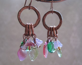 Copper Ring and Fields of Flowers Czech Pressed Glass Earrings E173
