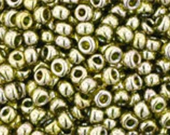 11/0 Gold Lustered Green Tea Toho Glass Seed Beads 2.5 inch tube 8 grams TR-11-457