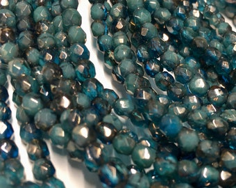 4mm Pacific Blue with Luster Finish Czech Glass Fire polished Crystal Beads 50 beads