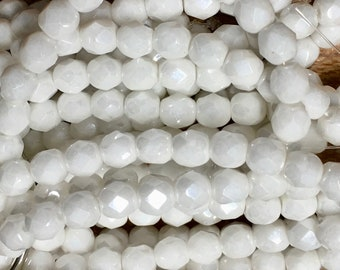 6mm White Luster Czech Glass Fire polished Crystal Beads 25 beads