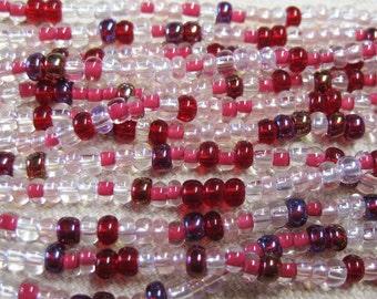 6/0 Strawberry Mix Genuine Czech Glass Preciosa Rocaille Seed Beads 6 Strand Half Hank 68 grams
