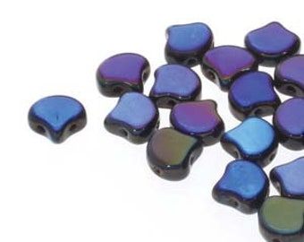 Ginko Jet Azuro Czech Pressed Glass Two Hole Gingko Leaf Beads 7.5mm 22 grams