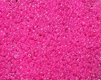 15/0 Neon Pink Japanese Glass Seed Beads 6 inch tube 28 grams #518B