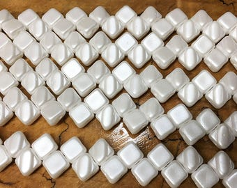 Pastel White Two Hole Silky Czech Pressed Glass 6mm Two Hole Angled Square Beads 40 pcs