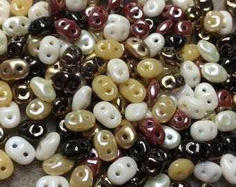 Super Duo Mocha Latte Mix Pressed Glass Two Hole Beads 2.5mm x 5mm 12 grams
