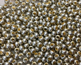6/0 Matte 24K Gold Plated 100% Brass Round Seed Beads Made in the USA Approx 10 grams