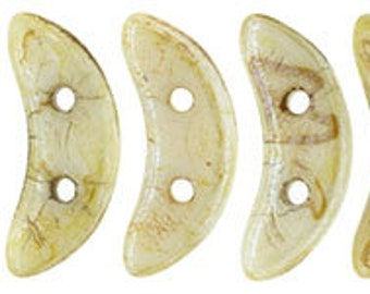 Crescent Beads Opaque Luster Picasso Two Hole Czech Mates Czech Pressed Glass 3x10mm 8.9 grams