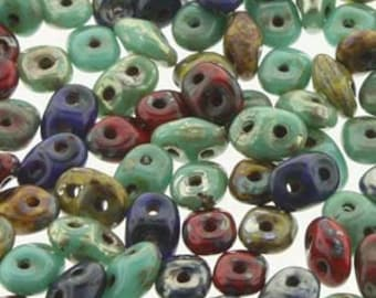 Super Duo Raku Color Mix Pressed Glass Two Hole Beads 2.5mm x 5mm 12 grams