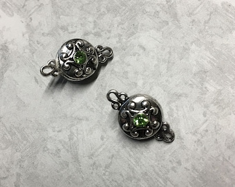 Magnetic Clasp Round Antique Silver Finish with Peridot Glass Rhinestone Accent Double Sided 12mm 2 Clasps