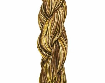Ollagua Handpainted Pure Linen by Araucania Mali Granate Brown Yellow Gold DK Weight Yarn 280 yards 100% Linen color 05