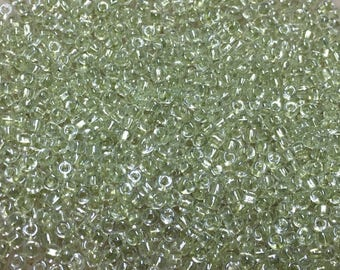11/0 Crystal Australian Mint Lined Japanese Glass Seed Beads 6 inch tube 28 grams #707