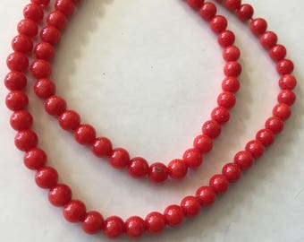Red Coral 4mm Round  Beads, approx 46 Beads per 8 Inch Strand