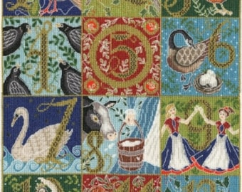 "12 Days of Christmas by Bothy Threads Embroidery and Cross Stitch Kit All Materials and Instructions Included  6.4"" x 8.4"""