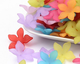 16 Frosted Mixed Color Acrylic Lucite Look Large Flower Cap Beads 5 Petal Bead Caps 29mm x 27mm