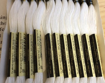 DMC Blanc White Embroidery Floss 2 Skeins 6 Strand Thread for Embroidery Cross Stitch Needlepoint Sewing Beading