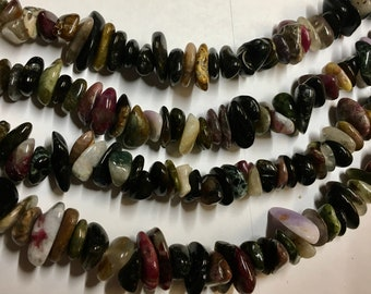 Tourmaline Pebbles 8 inch Gemstone Bead Strand Center drilled 8mm to 10mm