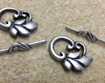 Antique Silver Plated Leaf Patterned Clasp  25x30mm 2 sets Made in the USA F262
