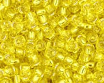 11/0 Silver Lined Lemon Yellow Toho Glass Seed Beads 2.5 inch tube 8 grams