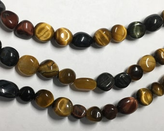 Tiger Eye 8x6mm Variable Gemstone Nuggets Approx 22 beads 8 Inch strand