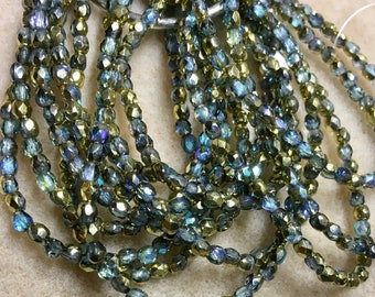 Blue Montana Luster Czech Glass Fire Polished Crystal Beads 3mm Approx 50 beads