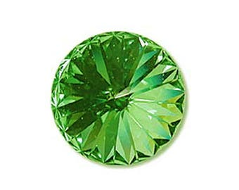14mm Swarovski 1122 Peridot Green Foiled Faceted Rivoli Stone Beads 1 pc