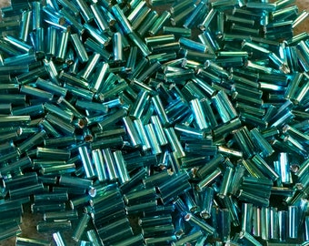 Teal Silver Lined Japanese Glass Bugle Beads 6mm 28 grams #643
