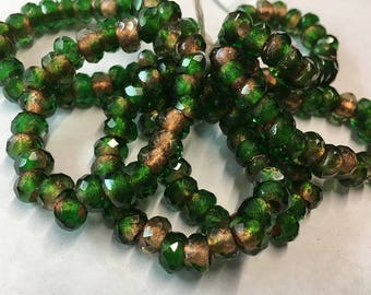 Green Metallic Copper Czech Pressed Glass Large Hole Faceted Roller Beads 6mm x 9mm 25 beads