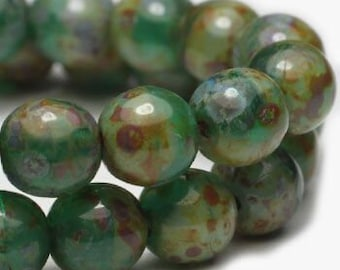 Green Czech Pressed Glass Round Druk Beads with Green Gray Picasso 6mm 25 beads