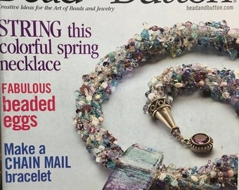 25% OFF Bead and Button Magazine Beaded Eggs Chain Mail Bracelet Herringbone with a Twist Crochet Fringe Purse April 2004