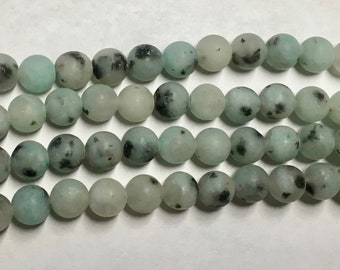 Kiwi Jasper Matte Green Gemstone Beads 6mm Rounds Approx. 30 beads