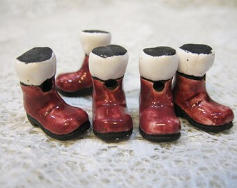 2 Boot Beads Santa Large Peruvian Ceramic Santas Boots Beads 22mm 2 Beads Last Ones