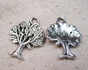 Clearance 12 Antique Silver Tone Single Sided Tree Charms 22mm x 17mm 12 pcs C168