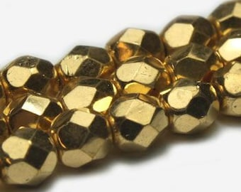 Metallic Gold Crystals 6mm Czech Fire polished Crystal Beads 25 beads