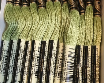DMC 3348 Light Yellow Green Embroidery Floss 2 Skeins 6 Strand Thread for Embroidery Cross Stitch Needlepoint Sewing Beading